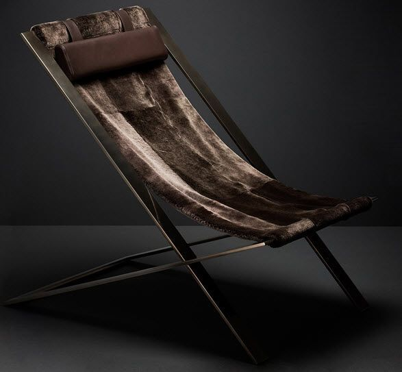 Damien Langlois-Meurinn; Steel, Lambswool and Leather 'Peace of Mind' Chair, 2010s.