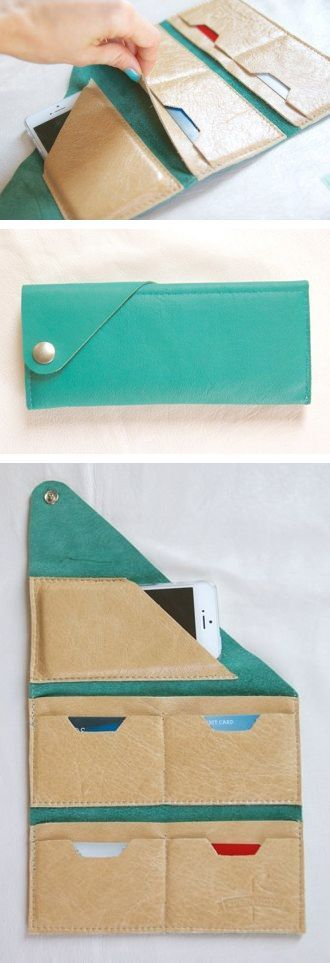 Wrap Wallet- sew this in soft leather, but convert bottom row to zip pocket for coins and open pocket for paper currency. Love the design!