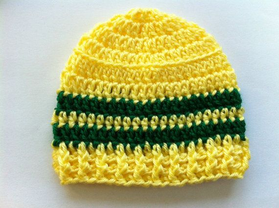 CROCHET BABY HAT Beanie  Yellow and Green by PennysBabyBoutique