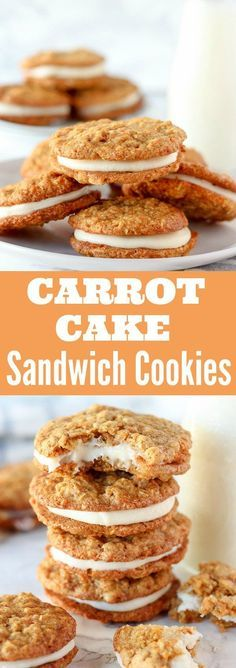 Carrot Cake Sandwich Cookies - Tender oatmeal cookies filled with cinnamon, grated carrots, coconut and walnuts, filled with cream cheese frosting.