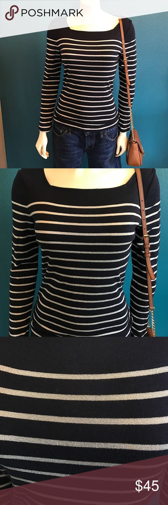 Striped Long sleeve top by Chaps This small long sleeve top by Chaps is a navy blue with silver stripes. The neckline is a very flattering square shape. Perfect for spring! Chaps Tops Tees - Long Sleeve