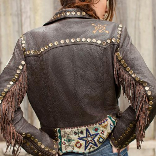 Double D Ranch Ladies Cayuse Beaded Biker Jacket C2146