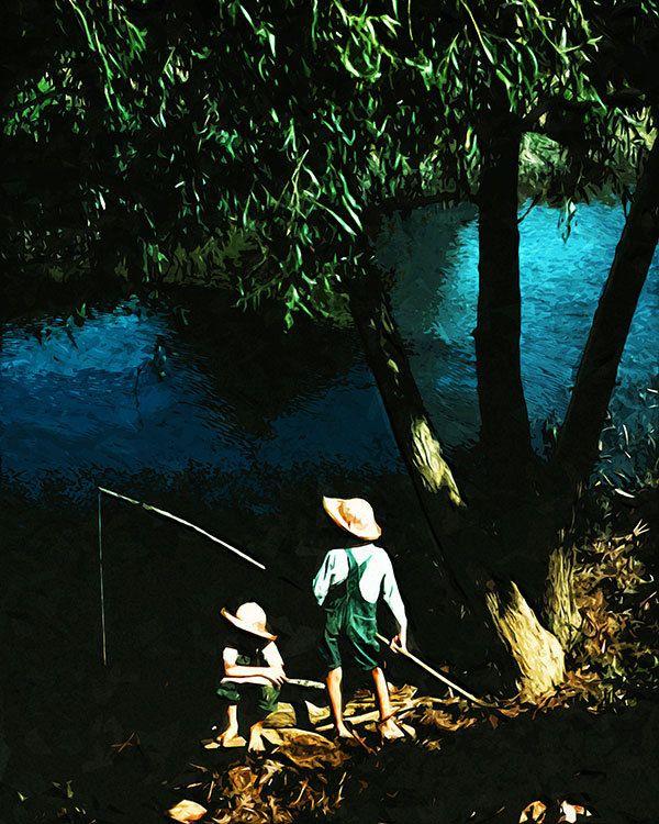 Kids Fishing In The Louisiana Bayou PRINTABLE Modern Art Sketch Wall Home  Officeu2026