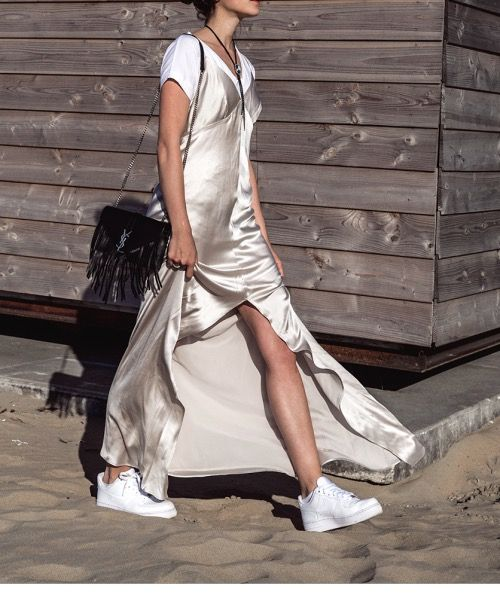 silky slip gown over a t-shirt + worn with sneakers @stylecaster