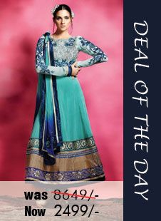Today's deal of the day - Blue Faux Georgette #Salwar #kameez with Embroidery and Lace Work Was Rs. 8,649, Now only Rs. 2,499. Grab your piece before the deal closes! Shop Now - http://zohraa.com/blue-faux-georgette-suit-mhrani208-e.html