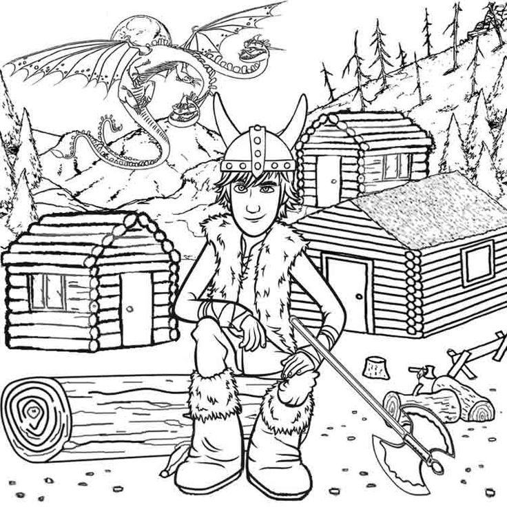 Two Headed Dragon Wooden Log Viking Cabins Hiccup How To Train Your Coloring Pages For Kids