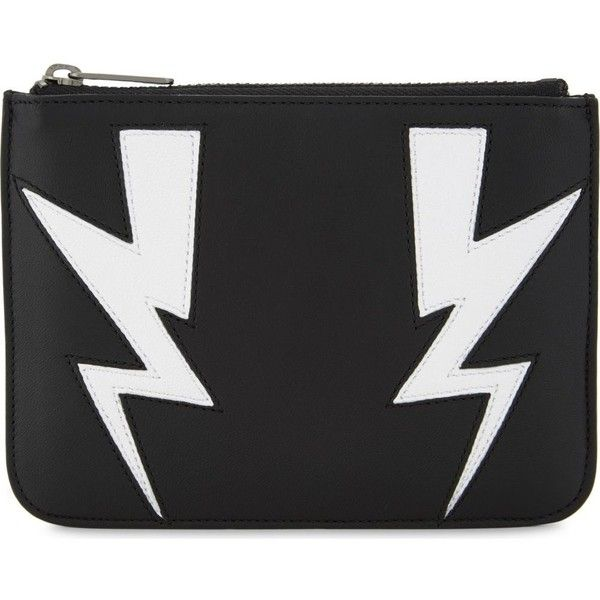 Neil Barrett Double thunderbolt small leather pouch ($195) ❤ liked on Polyvore featuring men's fashion, men's bags, mens leather bag and mens pouch bag