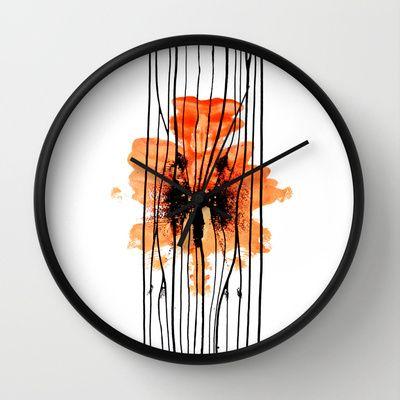 Orange Splash & Stripes Wall Clock by Alina Sevchenko - $30.00