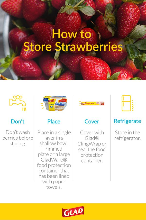 Celebrate freshness: eat, drink and be berry with these easy pointers on how to store strawberries. Even refrigerated and properly stored, we recommend using your strawberries within 3 days. For more helpful food protection pointers, visit Glad.com