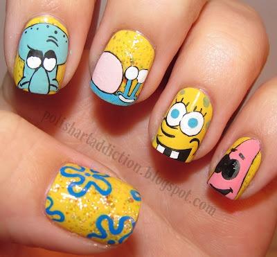 step by step guide to do spongebob nail polish...