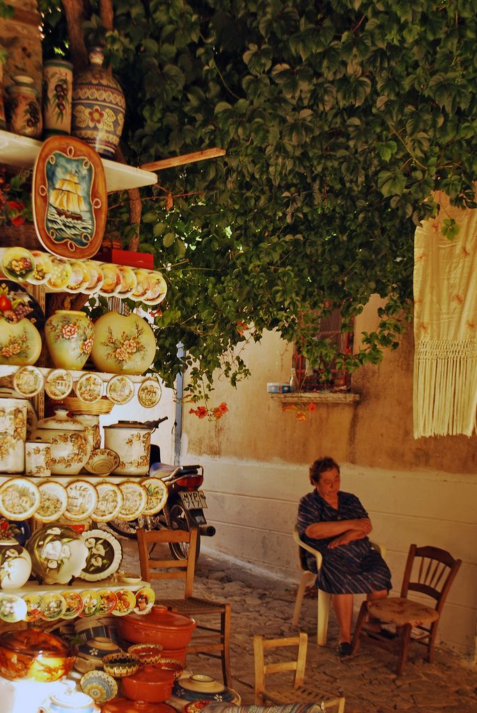 Ceramic shop in Agiasos, Lesvos Island, North Aegean_ Greece