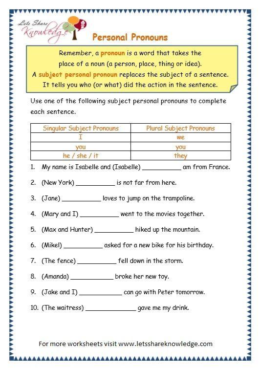 Grade 3 Grammar Topic 10 Personal Pronouns Worksheets Ronans