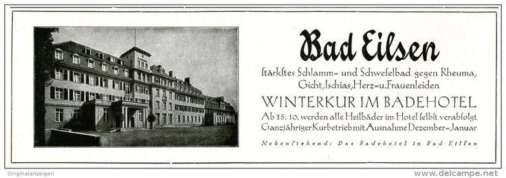 Original-Werbung/ Anzeige 1929 - BADEHOTEL BAD EILSEN - ca. 200 x 65 mm
