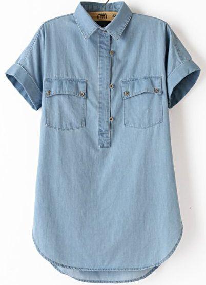Blue Lapel Short Sleeve Pockets Denim Blouse
