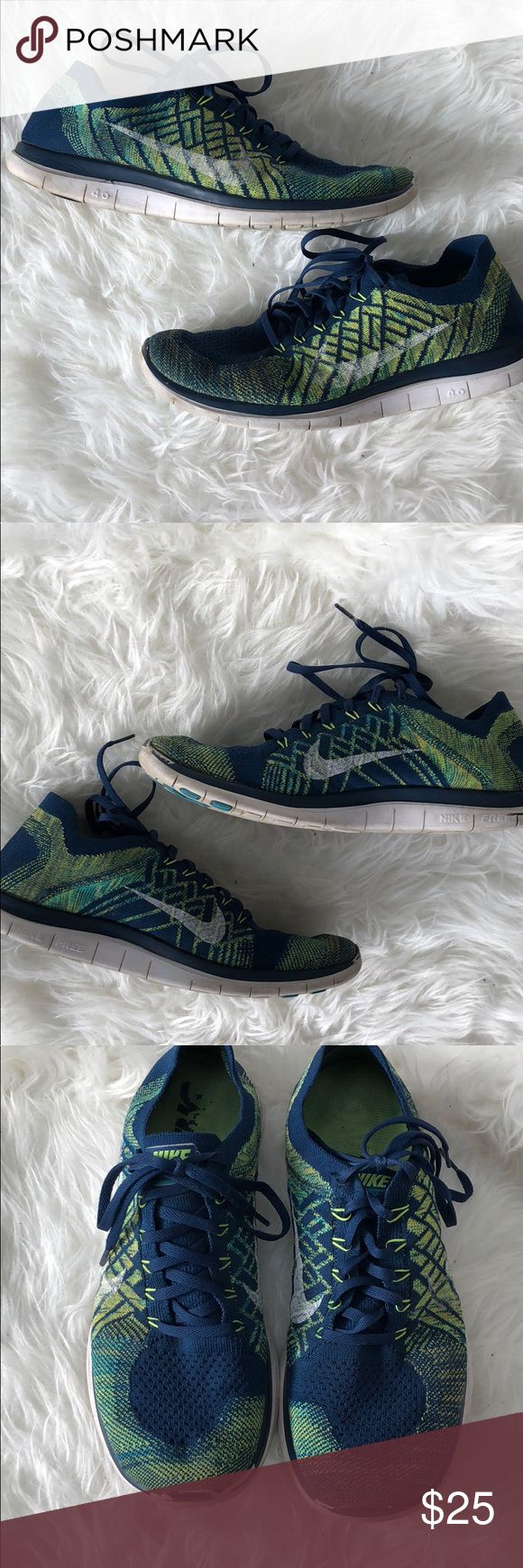 Men's Nike Free FlyKnit 4.0. Blue and green. 11 Crush your 2018 fitness goals in a pair of Nike Free FlyKnit 4.0. Comfortable and stylish. Blue and green. Show signs of wear (see photos).   Size 11 Nike Shoes Athletic Shoes