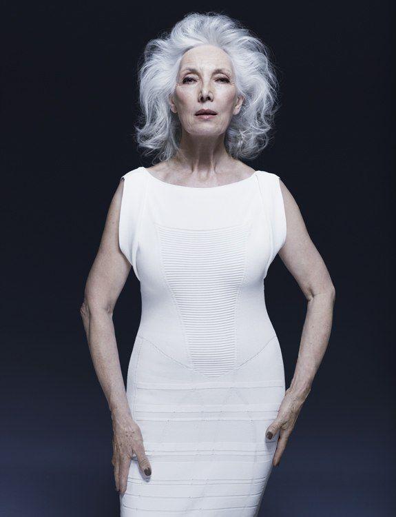 Silver gray hair stylish white dress dark lips and nails - fantastic