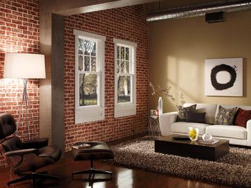 awesome red brick wall interior design | red brick interior walls with white window trim | Houzz ...