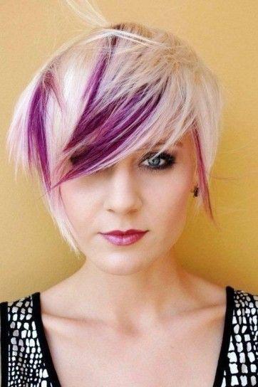 Colore capelli corti 2014 - Biondo platino con ciocche viola