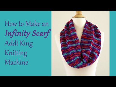 Learn to make an Infinity Scarf on your Addi King Knitting Machine. I have made many of these scarves on my Addi. These scarves make great gifts, and they ar...