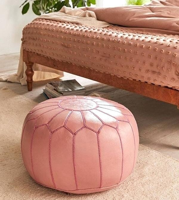Pink Moroccan Genuine Leather Pouf Pouf Ottoman Pink Moroccan Leather Pouf Home Gift Wedding Gift Chairs