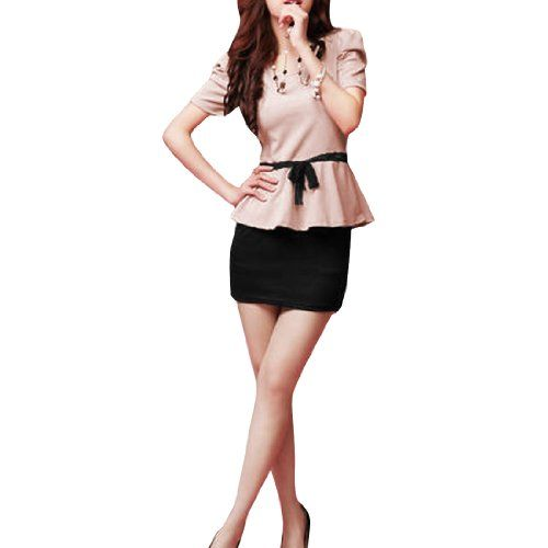 Allegra K Women's Scoop Neck Short Puff Sleeve Splice Peplum Mini Dress