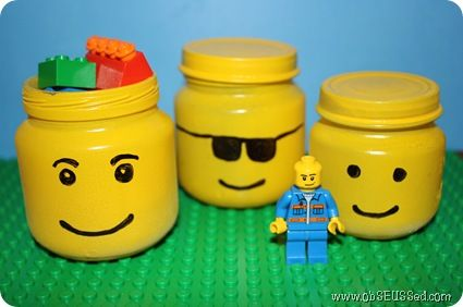 Lego men head jars. These would be great party favors for a lego party!!Baby Food Jars, Birthday Parties, Lego Parties, Parties Favors, Baby Foods, Storage Jars, Lego Storage, Storage Ideas, Lego Craft