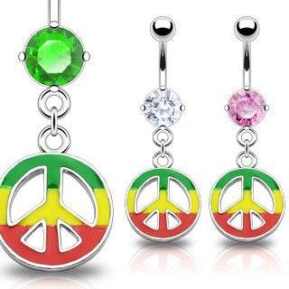 Navlepiercing med Jamaica Peace Tegn 46 kr