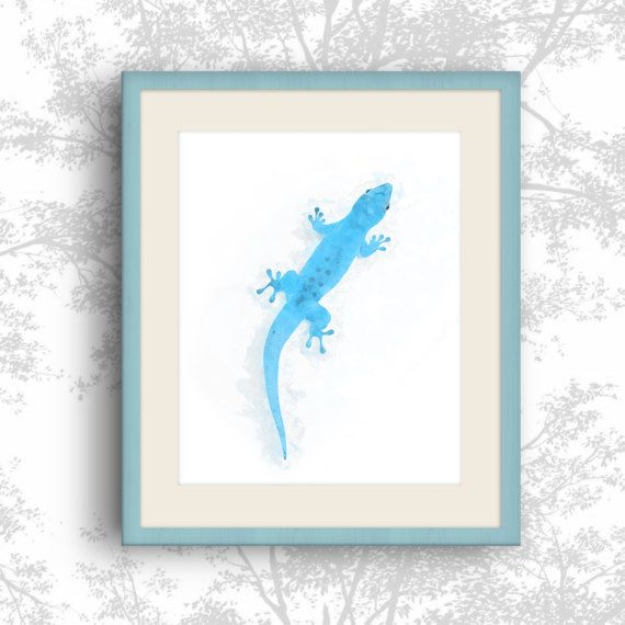 Gecko lizard Watercolor Gecko Geco print Blue by MyGalleryWall