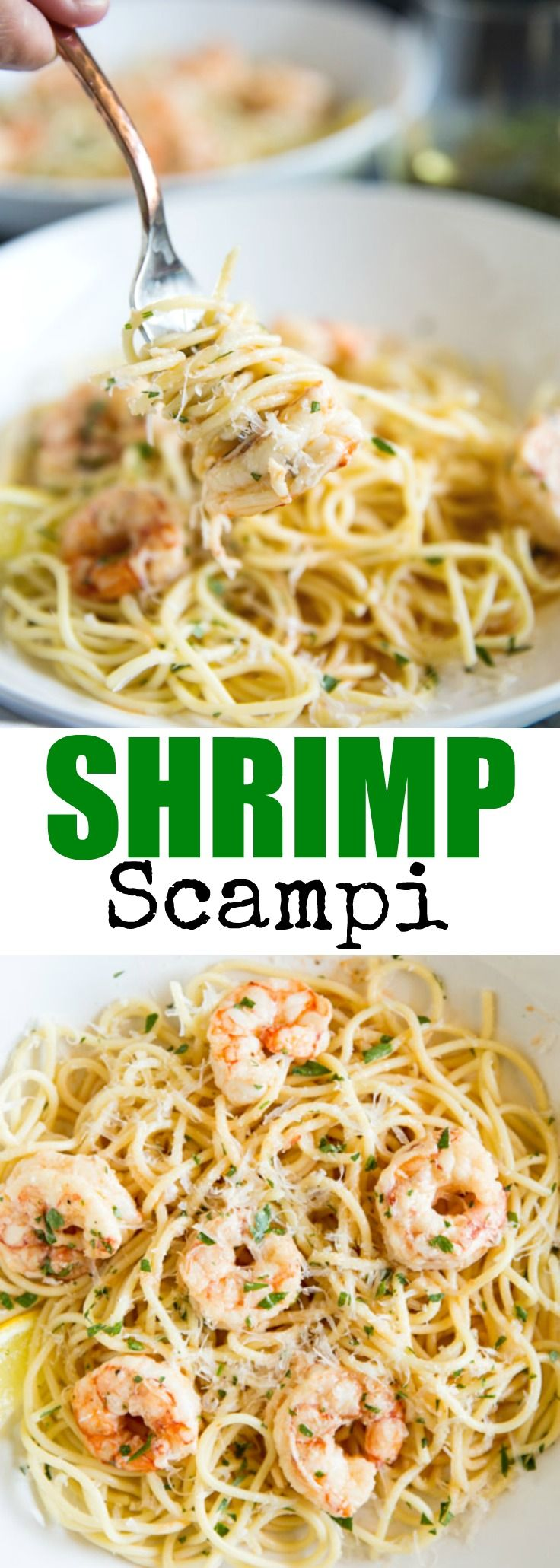 Quick and easy Shrimp Scampi is on the table in 30 minutes or less! And so buttery and delicious, the whole family will love it. via @culinaryhill