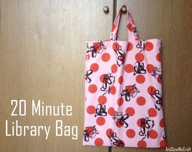 Bolsa de tela fácil / 20 minute library bag