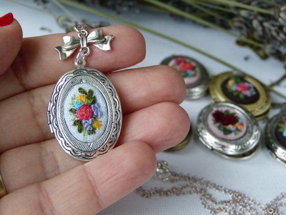 Embroidered locket romantic roses pendant minimalist