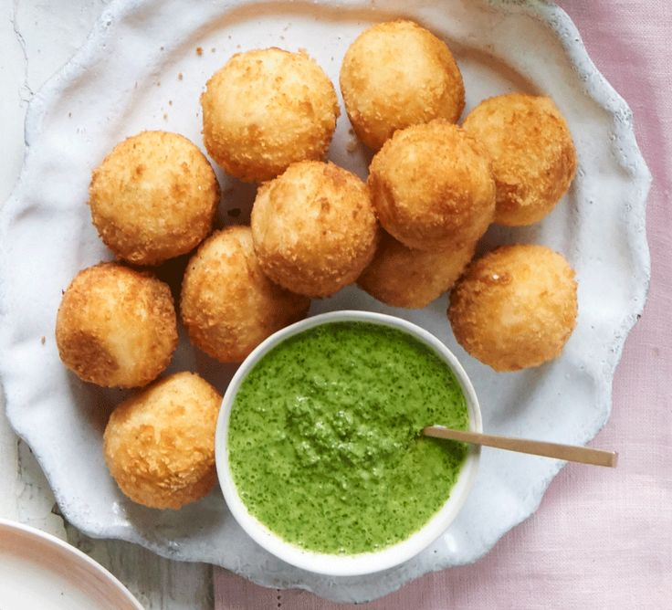 Serve these smoky, cheesy seafood bites with a vibrant green dipping sauce as a party nibble or sharing starter