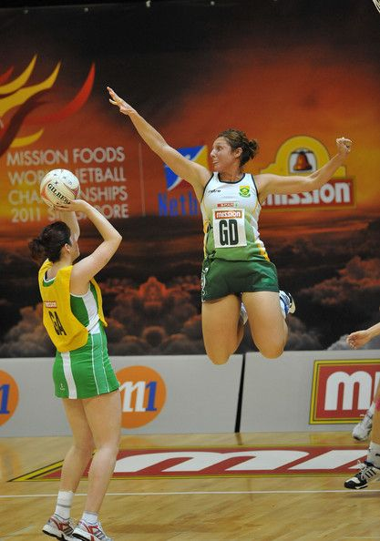 Amanda Mynhardt of South Africa on the defence during the match between South Africa and Northern Ireland on day seven of the 2011 World Netball Championships at Singapore Indoor Stadium on July 9, 2011 in Singapore.