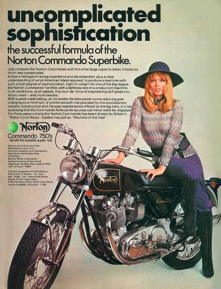 This Norton ad says more about 1970s female fashion than the bike, which is almost a side show !