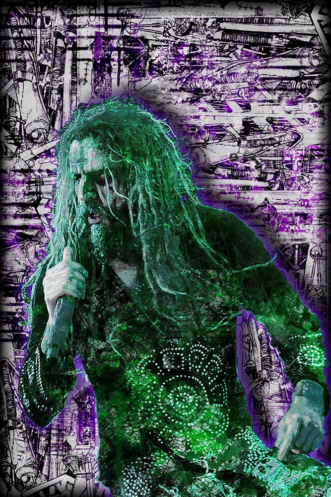 Rob Zombie Poster, Rob Zombie Portrait Gift, Rob Zombie Colorful Layer                      – McQDesign
