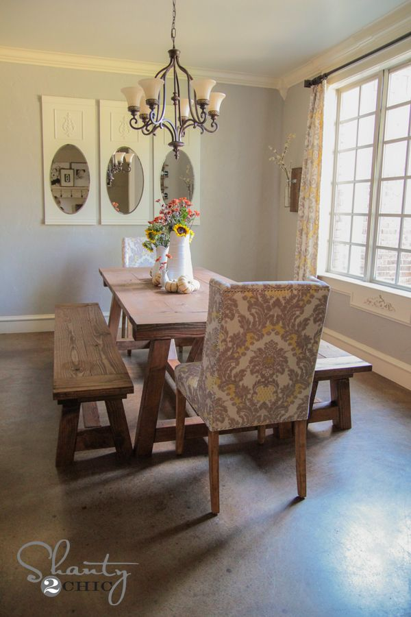 chairs paired with the rustic table also like the use of a bench