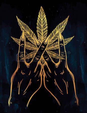 marijuana: V sign hand. Flash weed tattoo fingers with Marijuana leaf. Vector illustration isolated. Tattoo design, retro, music, summer, print symbol for your use.