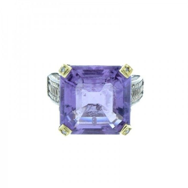 Pre-owned Judith Ripka Faceted Amethyst Square Stone & Sterling Silver... (2.240 DKK) ❤ liked on Polyvore featuring jewelry, rings, 14k wedding ring, preowned wedding rings, amethyst wedding rings, amethyst cocktail ring and sterling silver wedding rings