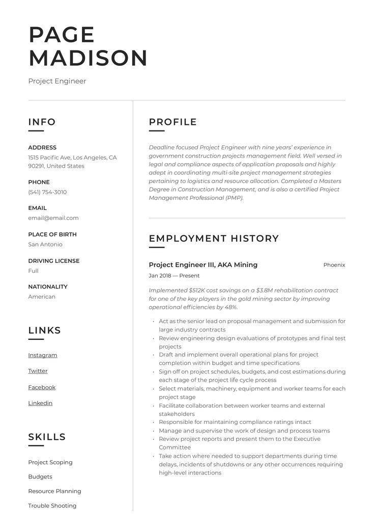 45+ Project engineer resume format ideas in 2021