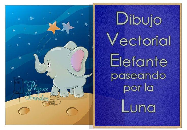Dibujo vectorial de elefante en la luna