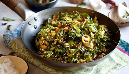 Dry curry of cabbage, carrot and coconut (Thoran) .  Interesting Rick Stein curry