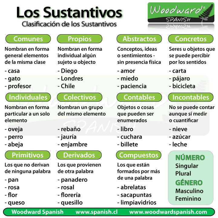 Clasificación de los sustantivos - Classification of Nouns in Spanish                                                                                                                                                     Más