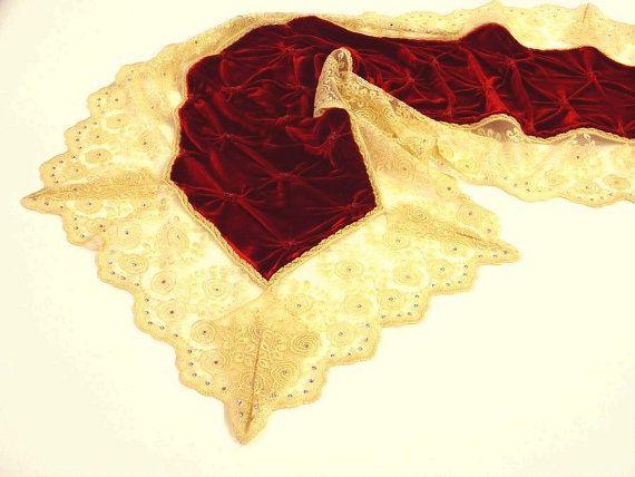Table runner ruby red beehive silk velvet by ClassyInteriorsDeco