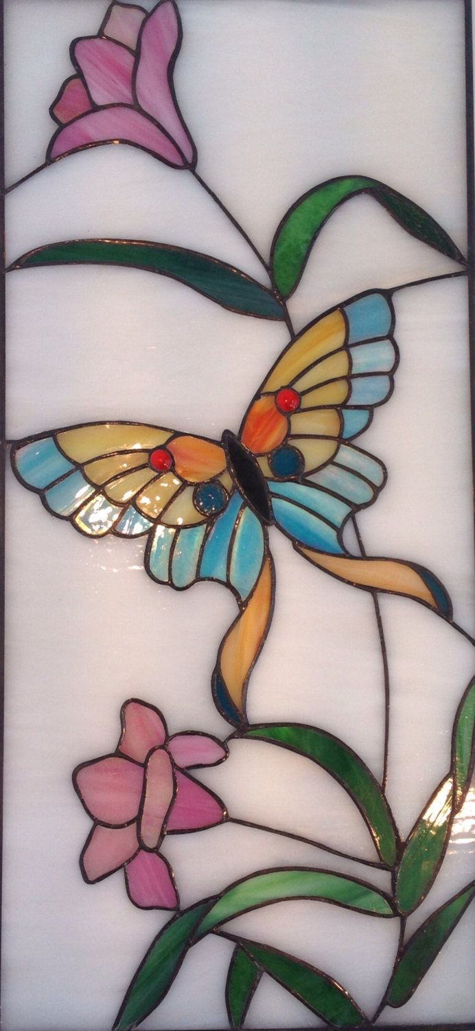 BUTTERFLY STAINED GLASS Glass Art Panel Stained Glass