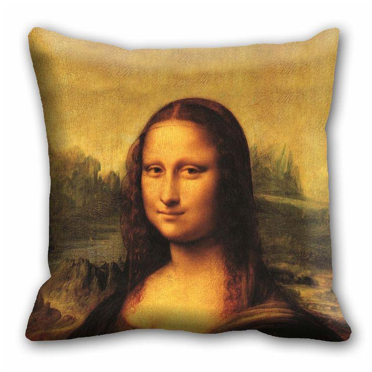 Digital Mona Lisa  Cushion cover (16x16)  #cushions #cushioncovers #pinit #pinterset #shazliving #interior #homedecor Shop at: https://www.shazliving.com/