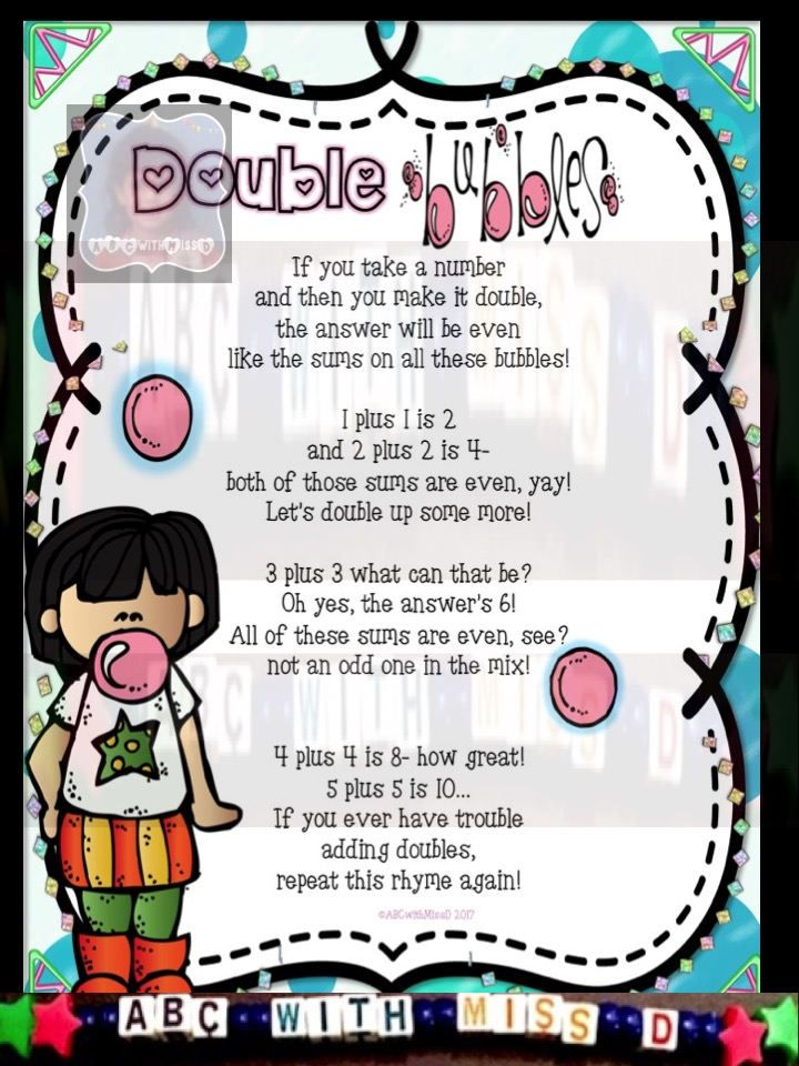 Teach your little learners how to double numbers in this fun (bubble gum-themed) lesson!  ~Learn at School~ My students have loved learning about the Double Bubbles through this fun poem that teaches them that doubling numbers will always give them an even-numbered sum. I love that the poem itself helps them memorize answers to many of these equations, so when it is time for testing my kiddos simply sing the Double Bubble song and are good to go! :)  Next, I hang up the gumball mini-posters…