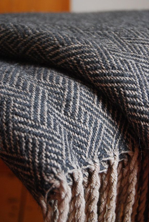 Handwoven Silk with Alpaca Sofa Throw or Blanket - Charcoal