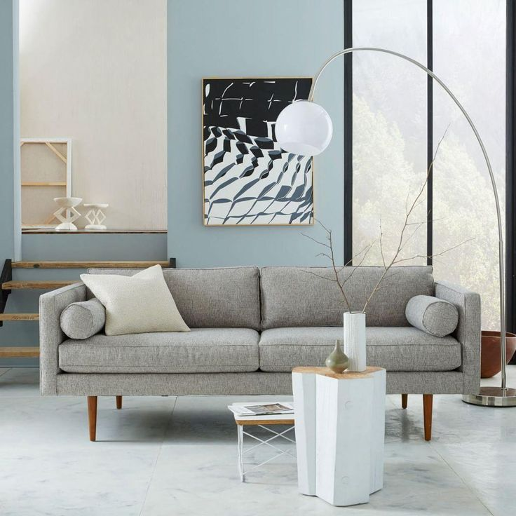 West Elm Monroe sofa similar to CB's Petrie. Pro I still love 10 years later and it it is only 6 inches longer than current couch. Con it has arms and two separate cushions which makes sleeping less comfy.