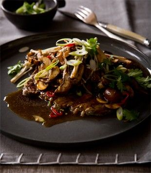 Barbecued minute steak with Asian mushroom dressing | Karen Martini