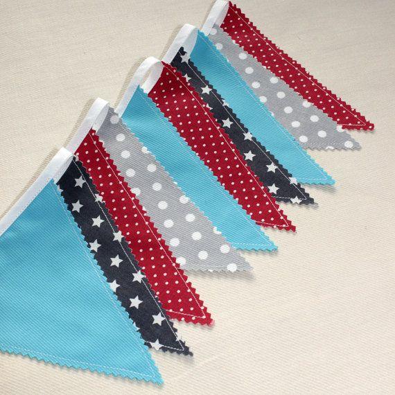 Guirlande de fanions Bannière Rouge Bleu Gris par PopelineDeco